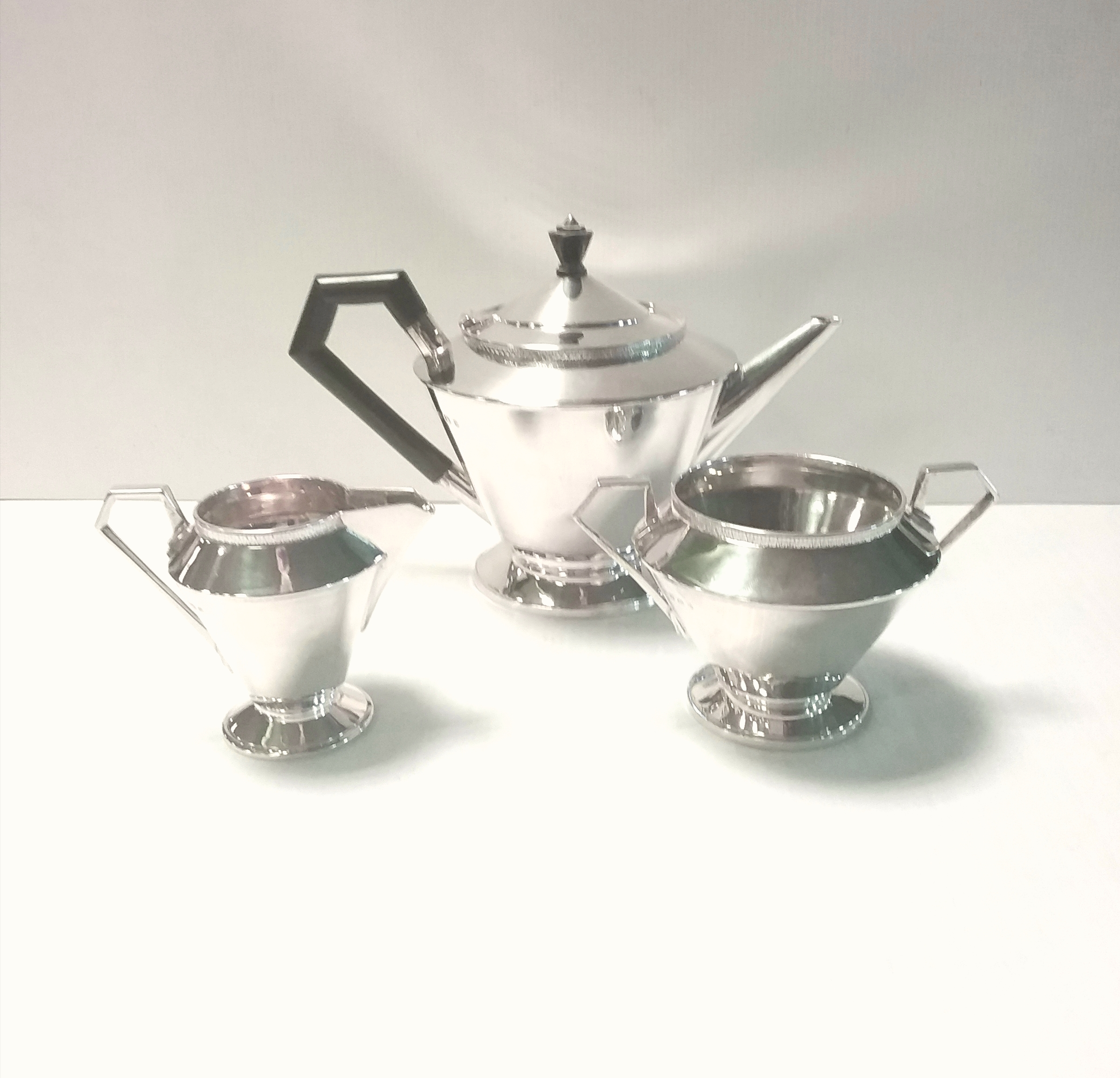 Art Deco 3 Piece James Dickson Solid Silver Tea Service