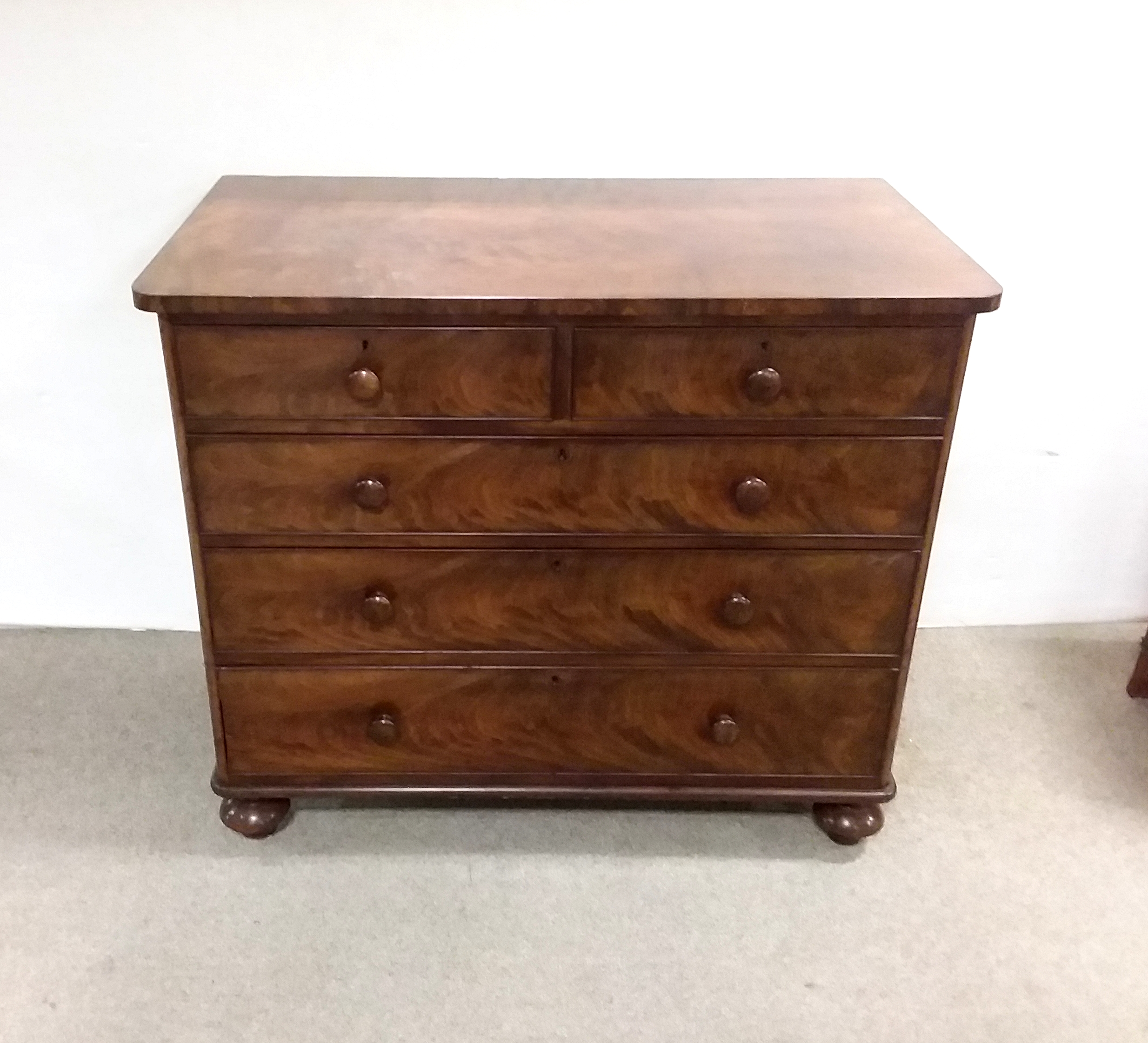 Antique=Victorian mahogany- chest -of -drawers