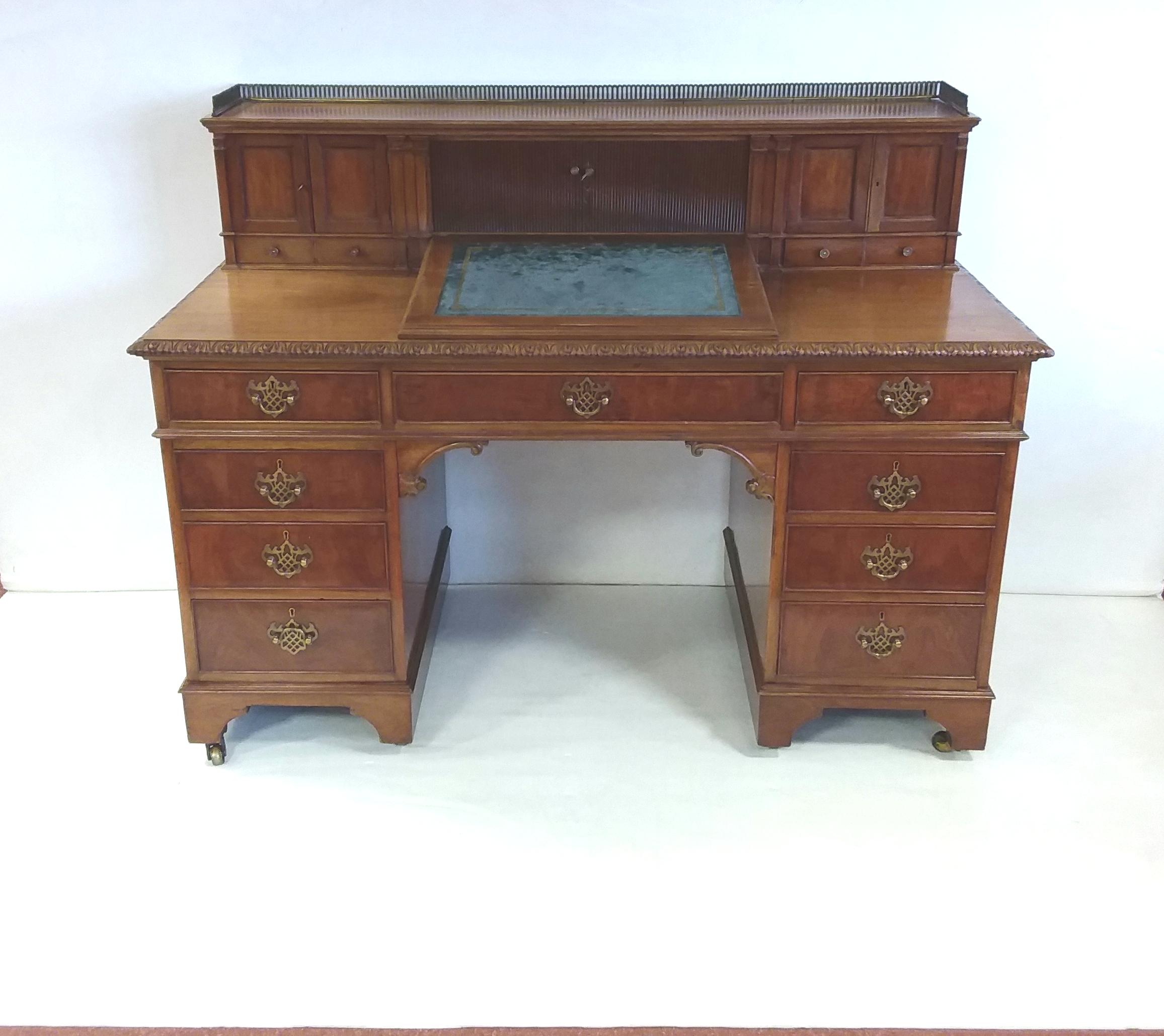 Antique Edwardian Twin Pedestal Desk