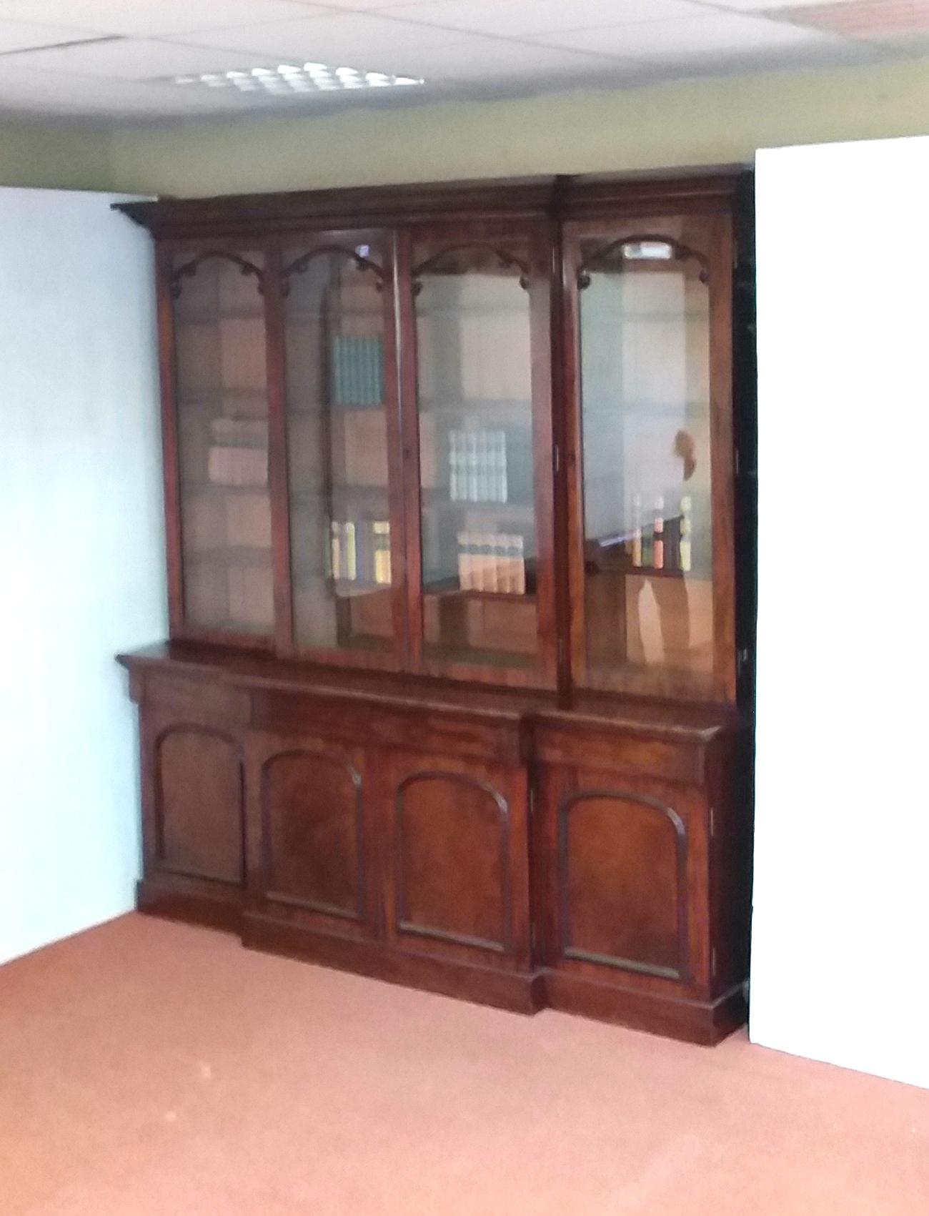 Victorian Mahogany Breakfront Bookcase