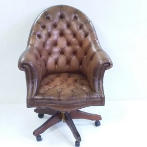 Antique- S tyle- Leather- Desk- Chair