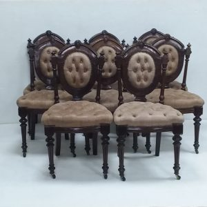 Antique Victorian Set of 8 Dining Chairs
