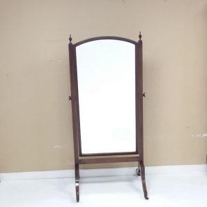 Antique Edwardian Inlaid Mahogany Cheval Mirror