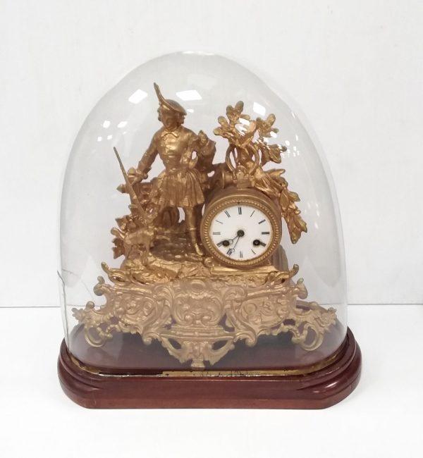 Antique Victorian Gilt Spelter Clock in Dome