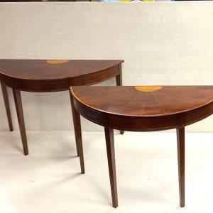 Edwardian Inlaid Mahogany Demi Lune Tables