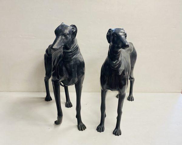 Matching Pair Of Bronze Greyhounds